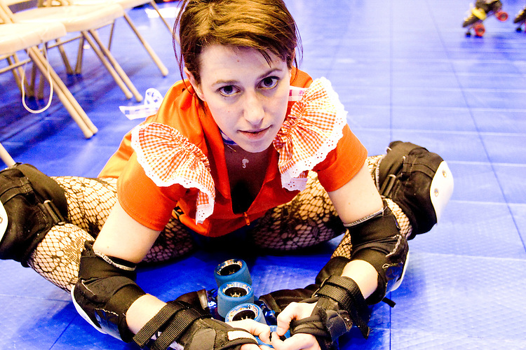Bluebonnet Plague of the Manhattan Mayhem gets ready to clash against the Bronx Gridlock at a Gotham Girls Roller Derby bout in New York City on May 6, 2006.