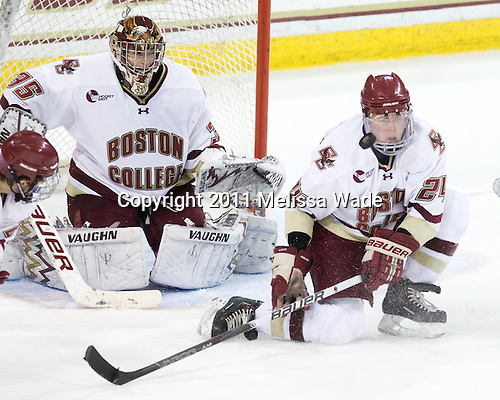 Parker Milner (BC - 35), Bill Arnold (BC - 24) - The Boston College Eagles defeated the visiting University of Massachusetts-Lowell River Hawks 5-3 (EN) on Saturday, January 22, 2011, at Conte Forum in Chestnut Hill, Massachusetts.
