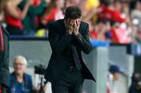 Atletico de Madrid's coach Diego Pablo Cholo Simeone dejected during Champions League 2017/2018, Group C, match 2. September 27,2017. (ALTERPHOTOS/Acero)<br /> Champions League 2017/2018 <br /> Atletico Madrid - Chelsea <br /> Foto Alterphotos / Insidefoto