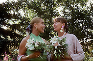 Ketchum, Idaho, U.S.A, August, 5th,1989. Margaux and Muffet Hemingway at their father's, Jack Hemingway, second wedding with Angela Holvey.