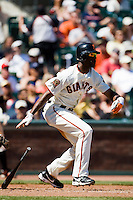 12 April 2008: #14 Fred Lewis of the Giants runs to first base as he hits the ball during the St. Louis Cardinals 8-7 victory over the San Francisco Giants at the AT&T Park in San Francisco, CA.