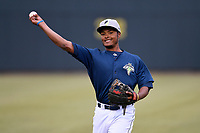 Second baseman Yoel Romero (26) of the Columbia Fireflies warms up before a game against the Charleston RiverDogs on Friday, April 5, 2019, at Segra Park in Columbia, South Carolina. Charleston won, 6-1. (Tom Priddy/Four Seam Images)