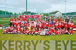 PARK ACADEMY: Christy Leahy and Don Givens with the member's of the St Brendan's Park soccer academy enjoying a great time at the naming of their new grounds to now be called Christy Leahy Park at Cahermoneen on Saturday.