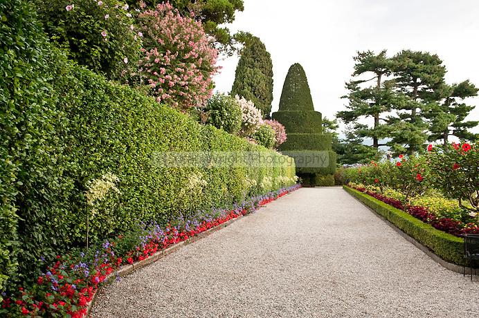 Gardens around the Borromeo Palace on Isola Bella, part of the Borromeo island group, Lago Maggiore, Italy