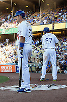 08/26/12 Los Angeles, CA: Los Angeles Dodgers Adrian Gonzalez #23 and Matt Kemp #27 during an MLB game played between the Los Angeles Dodgers and the Miami Marlins at Dodger Stadium. The Marlins Defeated the Dodgers 6-2