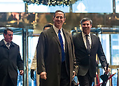 Former United States Senator Rick Santorum (Republican of Pennsylvania) is seen in the lobby of Trump Tower in New York, NY, USA upon his arrival for a meeting with President-elect Trump on December 12, 2016. <br /> Credit: Albin Lohr-Jones / Pool via CNP