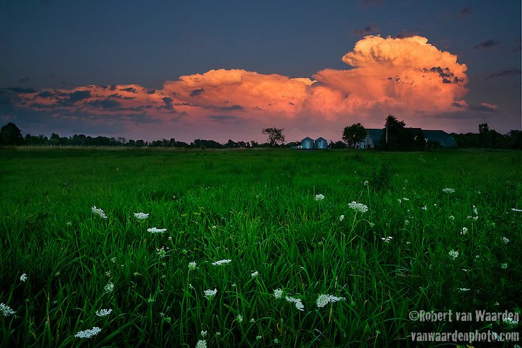 Thunderclouds over a farm near Hawkesbury in Eastern Quebec.