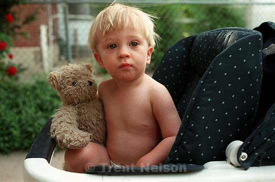 Nathaniel Nelson with his teddy bear, &quot;Bo Bo&quot;<br />