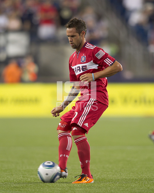 Chicago Fire midfielder Daniel Paladini (11) passes the ball. In a Major League Soccer (MLS) match, the New England Revolution tied the Chicago Fire, 1-1, at Gillette Stadium on June 18, 2011.