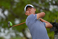 Si Woo Kim (KOR) watches his tee shot on 2 during day 2 of the Valero Texas Open, at the TPC San Antonio Oaks Course, San Antonio, Texas, USA. 4/5/2019.<br /> Picture: Golffile | Ken Murray<br /> <br /> <br /> All photo usage must carry mandatory copyright credit (© Golffile | Ken Murray)