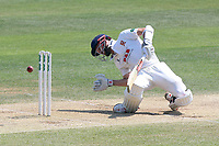 James Foster of Essex is struck by a Boyd Rankin delivery during Essex CCC vs Warwickshire CCC, Specsavers County Championship Division 1 Cricket at The Cloudfm County Ground on 20th June 2017