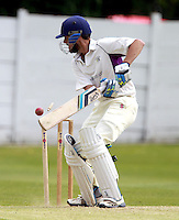 Will Vandespar of Brondesbury is bowled off a no ball during the ECB Middlesex Premier League game between North Middlesex and Brondesbury at Park Road, Crouch End on Sat June 21, 2014.