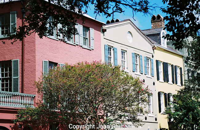 Photo of historic Rainbow Row in Charleston, South Carolina