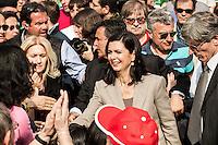 Milano 25-04-2013: Laura Boldrini in Piazza Duomo per ricordare il 25 aprile del 1945 giorno della liberazione dalla dittatura nazi-fascista