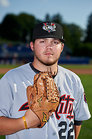 Tri-City ValleyCats pitcher Parker Mushinski (22) poses for a photo before a game against the Batavia Muckdogs on July 15, 2017 at Dwyer Stadium in Batavia, New York.  Tri-City defeated Batavia 5-4.  (Mike Janes/Four Seam Images)