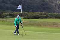 Caolan Rafferty of Ireland hits a great shot into the pin on the 1st during Round 1 Singles of the Men's Home Internationals 2018 at Conwy Golf Club, Conwy, Wales on Wednesday 12th September 2018.<br /> Picture: Thos Caffrey / Golffile<br /> <br /> All photo usage must carry mandatory copyright credit (© Golffile | Thos Caffrey)
