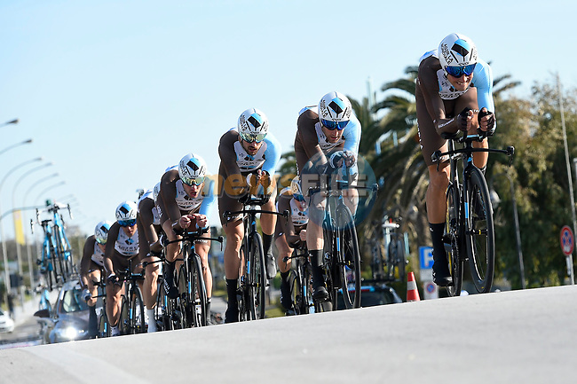 AG2R La Mondiale team in action during the 1st stage of the race of the two seas, 52nd Tirreno-Adriatico by NamedSport a 22.7km Team Time Trial around Lido di Camaiore, Italy. 8th March 2017.<br /> Picture: La Presse/Fabio Ferrari | Cyclefile<br /> <br /> <br /> All photos usage must carry mandatory copyright credit (&copy; Cyclefile | La Presse)