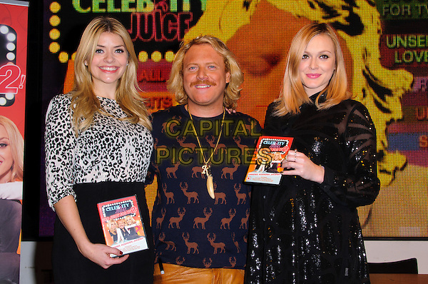 Holly Willoughby, Keith Lemon (Leigh Francis) & Fearne Cotton.The stars meet fans and sign copies of the new 'Celebrity Juice: Too Juicy For TV 2' DVD at HMV, Oxford Street..London, England, UK, .22nd November 2012.half length black skirt dress tights sequined sequin leather brown tan mustard trousers stag print top jumper pregnant maternity gold necklace leopard print top animal .CAP/CJ.©Chris Joseph/Capital Pictures.