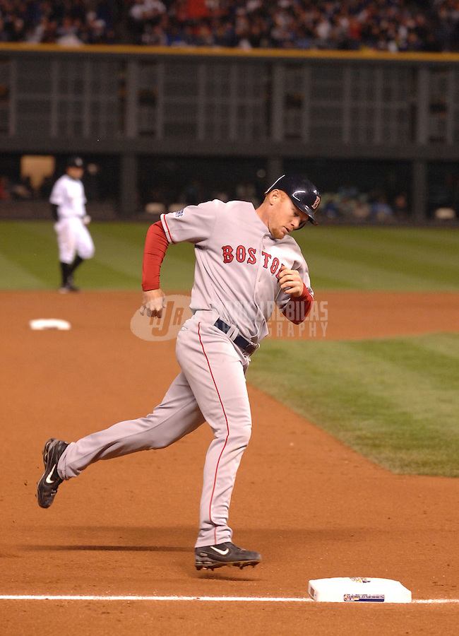 Oct 28, 2007; Denver, CO, USA; Boston Red Sox pinch hitter (32) Bobby Kielty rounds the bases after hitting a solo home run in the eighth inning against the Colorado Rockies during game 4 of the 2007 World Series at Coors Field. Mandatory Credit: Mark J. Rebilas-US PRESSWIRE