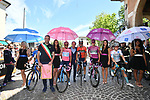 The jersey leaders and Vincenzo Nibali (ITA) Bahrain-Merida lined up for the start of Stage 19 of the 2019 Giro d'Italia, running 151km from Treviso to San Martino di Castrozza, Italy. 31st May 2019<br /> Picture: Massimo Paolone/LaPresse | Cyclefile<br /> <br /> All photos usage must carry mandatory copyright credit (© Cyclefile | Massimo Paolone/LaPresse)