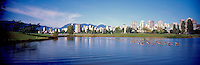 "City of Vancouver Skyline and Downtown ""West End"" from Vanier Park, BC, British Columbia, Canada, in Summer.  The North Shore Mountains (Coast Mountains) rise above the City. - Panoramic View"