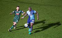 Adebayo Akinfenwa of Wycombe Wanderers & David Fox of Plymouth Argyle during the Sky Bet League 2 match between Wycombe Wanderers and Plymouth Argyle at Adams Park, High Wycombe, England on 14 March 2017. Photo by Andy Rowland / PRiME Media Images.