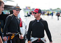 Aug 18, 2019; Brainerd, MN, USA; NHRA top fuel driver Austin Prock (left) and Steve Torrence during the Lucas Oil Nationals at Brainerd International Raceway. Mandatory Credit: Mark J. Rebilas-USA TODAY Sports