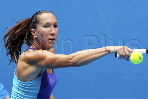 18.01.2014. Melbourne, Australia. Australian Open 2014, Melbourne Park,ITF Grand Slam Tennis Tournament. Jelena Jankovic of Serbia hits a return during for women s singles third round match against Kurumi Nara of Japan