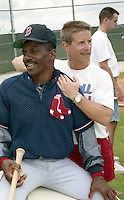 Boston Red Sox trainer Gordie Hurlbert stretches Al Bumbry during spring training circa 1992 at Chain of Lakes Park in Winter Haven, Florida.  (MJA/Four Seam Images)