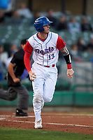 Stockton Ports catcher Jonah Heim (13) hustles down the first base line during a California League game against the Rancho Cucamonga Quakes at Banner Island Ballpark on May 16, 2018 in Stockton, California. Rancho Cucamonga defeated Stockton 6-3. (Zachary Lucy/Four Seam Images)