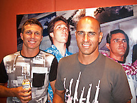 DANNY WILLS (AUS) and  KELLY SLATER (USA)  at Danny's retirement  from the ASP World Tour was celebrated last night, Monday 2 March 2009 at the La Monde restaurant at Kirra Beach, Kirra, Queensland, Australia ,   Photo: joliphotos.com