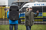© Joel Goodman - 07973 332324 . 20/01/2018. Doncaster, UK. EDL leader IAN CROSSLAND (r) speaks . Far-right street protest movement , the English Defence League ( EDL ) , hold a demonstration , opposed by anti-fascists , including Unite Against Fascism ( UAF ) in a park in Hexthorpe in Doncaster . EDL supporters chanted anti-Roma slogans as they marched through the town . Photo credit : Joel Goodman