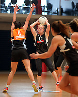 14.10.2016 Silver Ferns Shannon Francois in action at the Silver Ferns training at the Auckland Netball Centre in Auckland. Mandatory Photo Credit ©Michael Bradley.