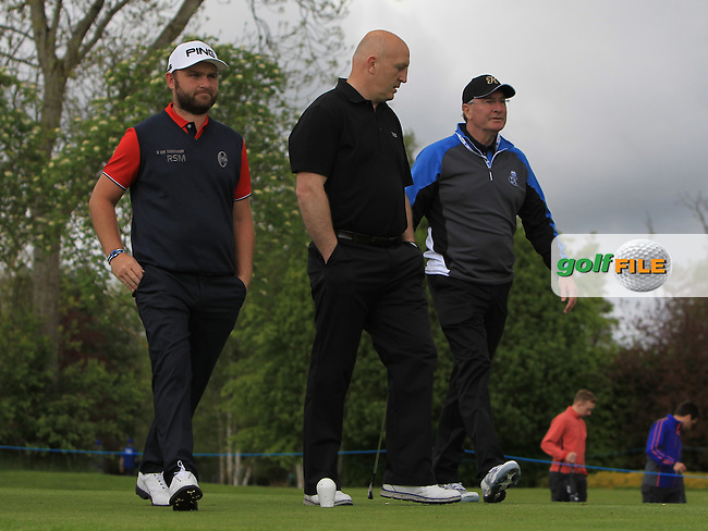 Andy Sullivan (IRL) with Keith Wood (AM) and Aidan Brown (AM) on the 14th tee during Wednesday's Pro-Am round of the Dubai Duty Free Irish Open presented  by the Rory Foundation at The K Club, Straffan, Co. Kildare<br /> Picture: Golffile | Thos Caffrey<br /> <br /> All photo usage must carry mandatory copyright credit <br /> (&copy; Golffile | Thos Caffrey)