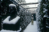 The pergola in the garden of a house designed by Oswald Mathias Ungers photographed in the deep snow of a German winter