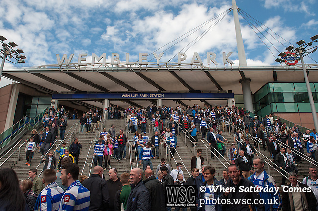 Queens Park Rangers 1 Derby County 0, 24/05/2014. Wembley Stadium, Championship Play Off Final. Queens Park Rangers supporters arrive at Wembley Park Station ahead of the Championship Play-Off Final between Queens Park Rangers and Derby County from Wembley Stadium.  Photo by Simon Gill.
