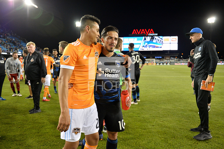 San Jose, CA - Saturday April 14, 2018: Darwin Cerén, Jahmir Hyka during a Major League Soccer (MLS) match between the San Jose Earthquakes and the Houston Dynamo at Avaya Stadium.