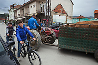 Serbia. Veliki Trnovac (in Albanian: Tërnoc i Madh) is a town in the municipality of Bujanovac, located in the Pčinja District of southern Serbia. Albanian men sitting on a tractor pull a trailer with a cow. Albanian boys on bicycles on the asphalt road. Street life. Bujanovac is located in the geographical area known as Preševo Valley. The Pestalozzi Children's Foundation (Stiftung Kinderdorf Pestalozzi) is advocating access to high quality education for underprivileged children. It supports in Bujanovac a project called » Our towns, our schools ». 16.4.2018 © 2018 Didier Ruef for the Pestalozzi Children's Foundation
