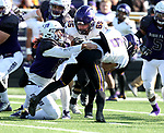 SIOUX FALLS, SD - NOVEMBER 11: Kyle Campiotti #19 from the University of Sioux Falls brings down Justin Taormina #6 from Minnesota State Mankato during their game Saturday afternoon at Bob Young Field in Sioux Falls. (Photo by Dave Eggen/Inertia)