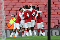 Arsenal players congratulate Danny Bullard after scoring their second goal during Arsenal Youth vs Blackpool Youth, FA Youth Cup Football at the Emirates Stadium on 16th April 2018