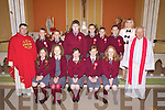 Pupils from Mountcollins N.S who received their confirmation last Friday in Mountcollins. Seated l-r: Tara Whetham, Clodagh Walsh, Emma Lane, Muirean Hickey, Cathriona Lennihan. Standing l-r: Bishop Anthony Mullins, Padraig Hickey, Ronan Lacey, Patrick Barry, Timothy Finnegan, Eamonn O'Callaghan, John Lennihan, Principal Ann O'Callaghan, Fr Willie O'Gorman.