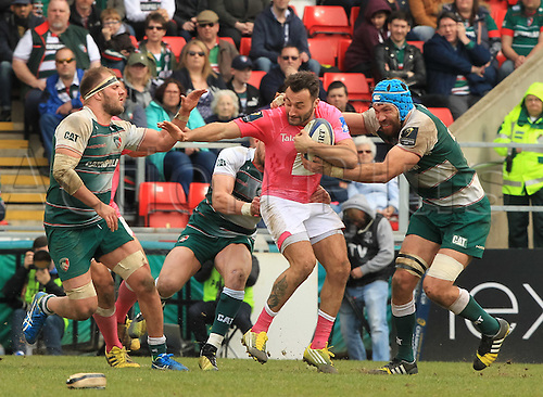 10.04.2016. Welford Road, Leicester, England. European Champions Cup. Leicester Tigers versus Stade Francais.  States' wing Jeremy Sinzelle breaks out of defence.