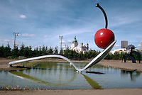 Cherry on spoon fountain sculpture at the Walker Art Center Sculpture Garden.  Minneapolis Minnesota USA