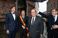 François Hollande meets with Mayor of Mons, Elio Di Rupo, during his book signing  - Belgium