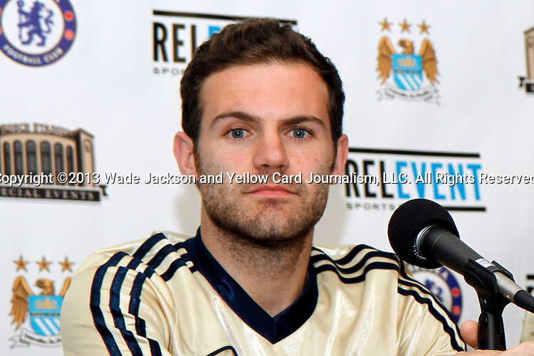 22 May 2013:  Juan Mata (10)(ESP) of Chelsea at a press conference.  Chelsea F.C. practice session in preparation for an exhibition match against Manchester City at Busch Stadium in Saint Louis, Missouri.