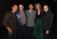 """Los Angeles - JANUARY 8: Jimmy Chin, Antonio Banderas, Alex Honnold, Laura Dern, and Elizabeth Chai Vasarhelyi attend an IMAX screening of National Geographic's """"Free Solo"""" at the AMC Century City 15 on January 8, 2019 in Los Angeles, California. (Photo by Frank Micelotta/National Geographic/PictureGroup)"""