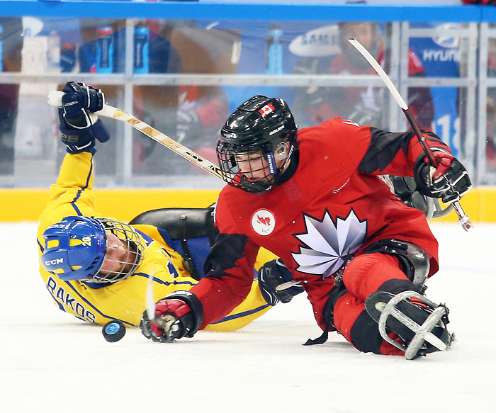 Pyeongchang, Korea, 10/3/2018-James Dunn of Canada plays Sweden in hockey during the 2018 Paralympic Games in PyeongChang. Photo Scott Grant/Canadian Paralympic Committee.