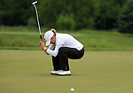 WATERLOO, ON - JUNE 8: Cristie Kerr reacts as she misses her birdie putt attempt on the eighth hole during the final round of the Manulife Financial LPGA Classic at the Grey Silo Golf Course on June 8, 2014 in Waterloo, Ontario, Canada. (Photo by Steve Dykes/Getty Images) *** Local Caption *** Cristie Kerr