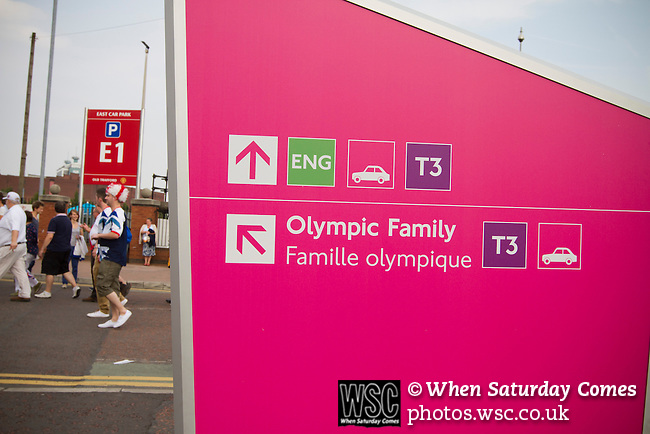 Uruguay 2 United Arab Emirates 1, Great Britain 1 Senegal 1, 26/07/2012. Old Trafford, Olympic Games. Olympic signage on display near Manchester United's Old Trafford stadium prior to the Men's Olympic Football tournament matches at the venue. The double header of matches resulted in Uruguay defeating the United Arab Emirates by 2-1 while Great Britain and Senegal drew 1-1. Over 72,000 spectators attended the two Group A matches. Photo by Colin McPherson.