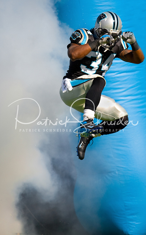 Carolina Panthers running back DeAngelo Williams (34) is announced against the Detroit Lions during an NFL football game at Bank of America Stadium in Charlotte, NC.